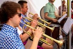 Florian, Evi und Kevin an der Trompete